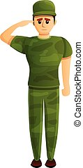Soldier salute icon, cartoon style