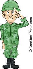 Soldier Salute - Illustration of a Uniformed Solder Doing a...