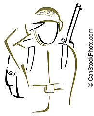 Soldier saluted - Illustration of armed soldier in uniform