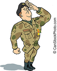 Army soldier in uniform proudly saluting or reporting for duty.
