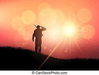 soldier saluting at sunset 1603 - Silhouette of a soldier...