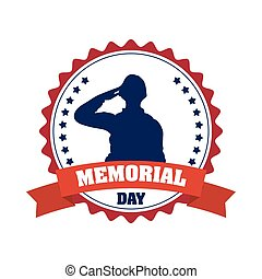 soldier saluting silhouette in seal frame