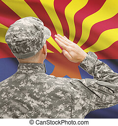 Soldier saluting to US state flag series - Arizona