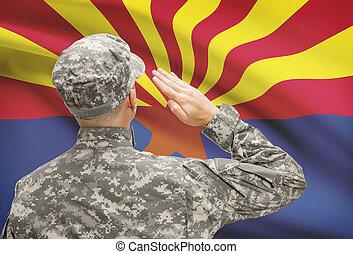 Soldier saluting to US state flag series - Arizona