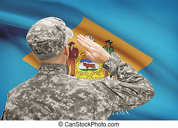 Soldier saluting to US state flag series - Delaware