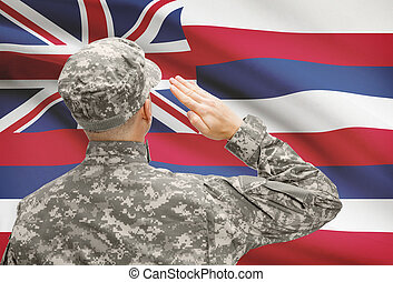 Soldier saluting to US state flag series - Hawaii