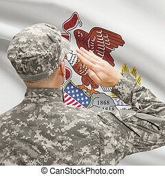 Soldier saluting to US state flag series - Illinois