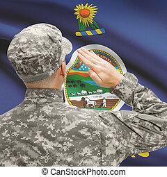 Soldier saluting to US state flag series - Kansas