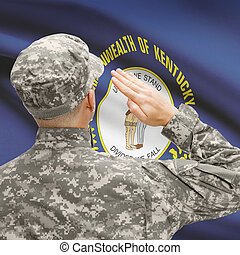 Soldier saluting to US state flag series - Kentucky