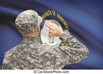 Soldier saluting to US state flag series - Kentucky -...