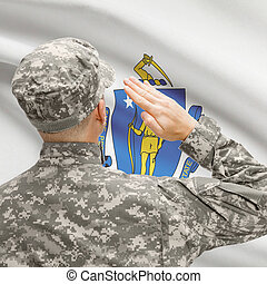 Soldier saluting to US state flag series - Massachusetts