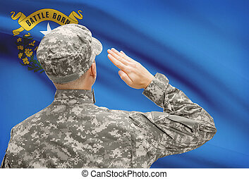 Soldier saluting to USA state flag conceptual series - Nevada