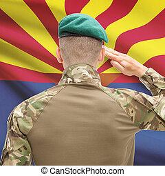 Soldier saluting to USA state flag conceptual series - Arizona