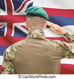 Soldier saluting to USA state flag conceptual series - Hawaii