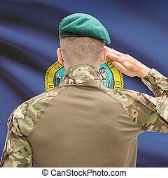 Soldier saluting to USA state flag conceptual series - Idaho