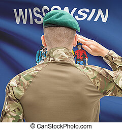 Soldier saluting to USA state flag conceptual series - Wisconsin