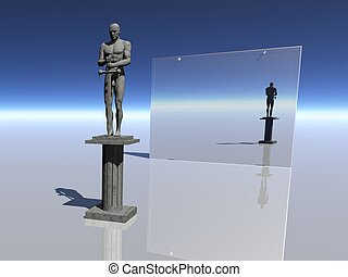 soldier -  	sculpture and mirror