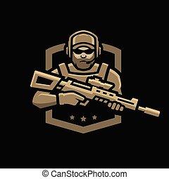 soldier., scuro, fondo., logotipo, forze, emblema, speciale
