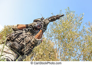 soldier shooting during the military operation