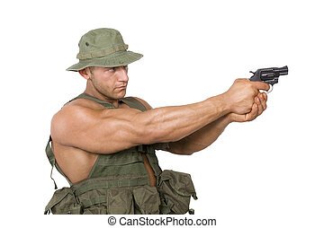 Soldier shooting isolated on white.