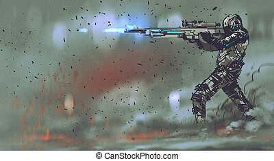 soldier shooting rifle with futuristic concept,hand draw...