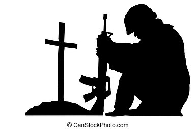 soldier silhouette - silhouette of a soldier kneeling next...