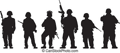 Soldier Silhouette - Soldiers silhouette with guns in vector