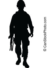 Soldier - Silhouette of US soldier
