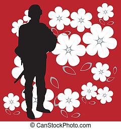 Soldier silhouette on bright red and powerful background...