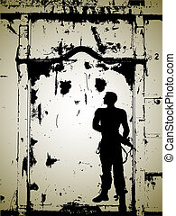 soldier-silhouette - soldier with abstract...