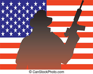 soldier silhouette with american flag