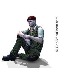 Soldier sitting white Background - Universal Soldier sitting...