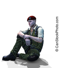 Soldier sitting white Background - Universal Soldier sitting...