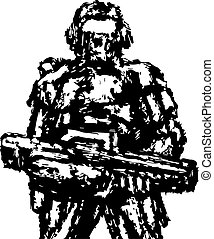 Soldier standing with assault rifle. Vector graphics.