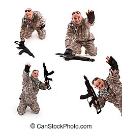 soldier surrender - collage, soldier with hands up, isolated...