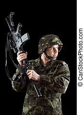 Soldier threatening with a rifle