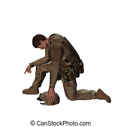 Soldier Tribute - Soldier paying tribute to fallen heroes.