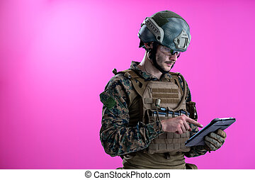 soldier using tablet computer closeup - soldier using tablet...