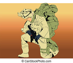 Vector graphic illustration of a soldier with heavy burden for the country.