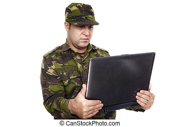 Soldier With A Laptop