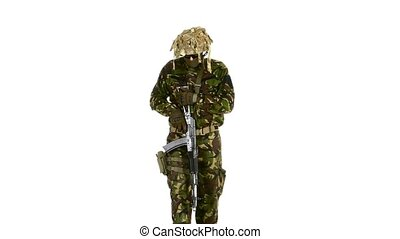 Soldier with a rifle and a pistol. White backgraund -...