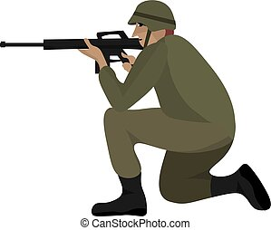 Soldier with a rifle, illustration, vector on white background.