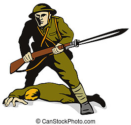 Soldier with bayonet  - Illustration on the military