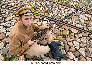 Soldier with boiler and gun in retro style picture - Soldier...