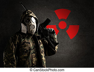 soldier with gas mask
