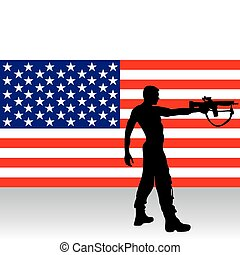 soldier with gun - vector illustration of a soldier infront...