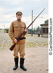 Soldier with gun in retro style picture - Soldier with a gun...