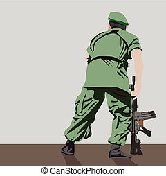 Soldier with gun, Vector Flat Design Illustration