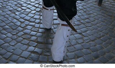 Soldier with Leggings Walks - XVIII century guard soldier...