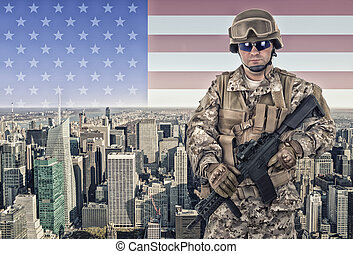 Soldier with New York city in background.